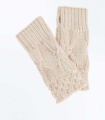 Cream Cable Knit Handwarmer Gloves
