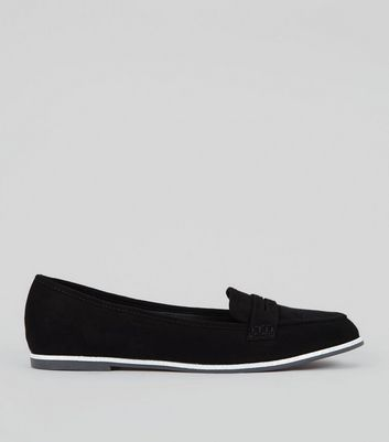 Black Suedette Glitter Trim Loafers