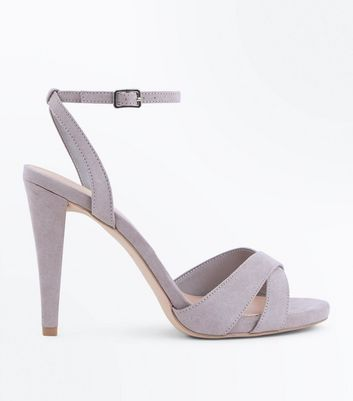Wide Fit Grey Suedette Cone Heeled Sandals