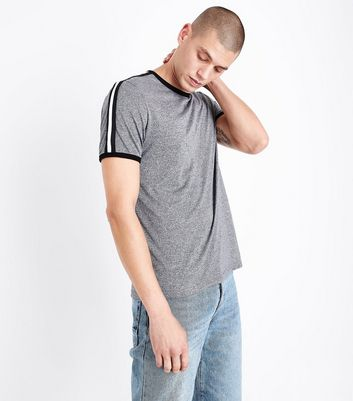 Charcoal Grey Stripe Tape Sleeve T-Shirt
