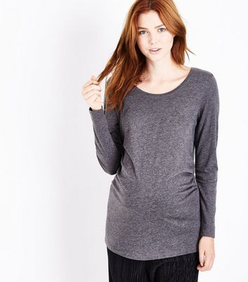 Maternity Black Ruched Side Long Sleeved Top