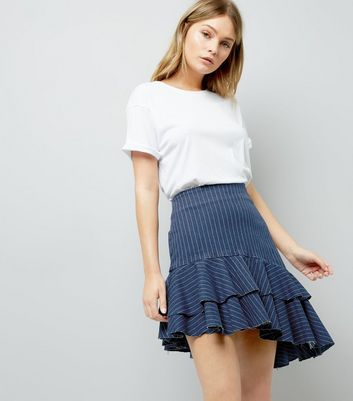 Blue Stripe Asymmetric Frill Trim Skirt