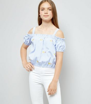 Teens Blue Stripe Floral Embroidered Top
