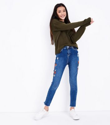 Teens Blue Floral Embroidered Skinny Jeans