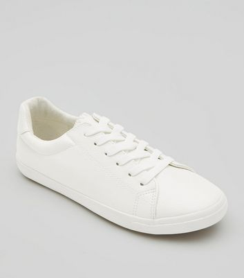 White Textured Lace Up Trainers