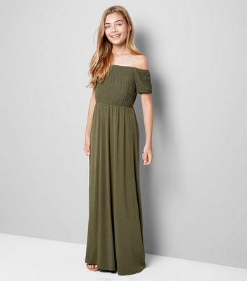 Teens Khaki Shirred Bardot Neck Maxi Dress
