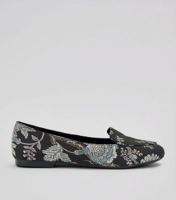 Black Floral Brocade Stitch Side Loafers