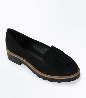 Black Chunky Tassel Loafers