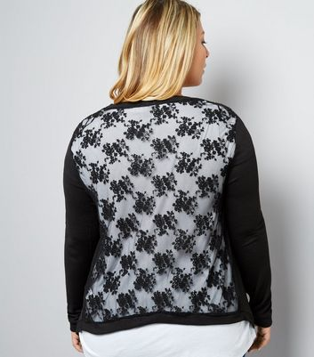 Curves Black Floral Lace Back Cardigan