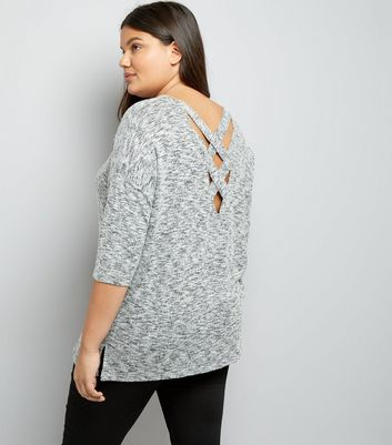 Curves Grey Marl Fine Knit Lattice Back Top