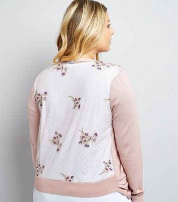 Curves Pink Sheer Embroidered Back Cardigan