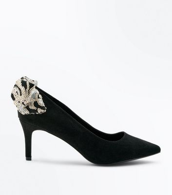 Wide Fit Black Suedette Sequin Bow Court Heels