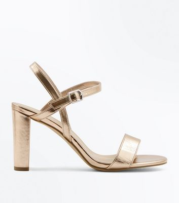 Wide Fit Rose Gold Metallic Block Heel Sandals