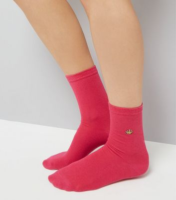 Bright Pink Embroidered Crown Socks