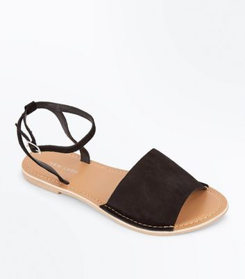 Black Suede Ankle Strap Sandals