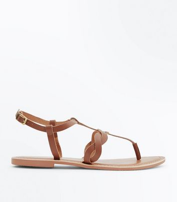 Tan Leather Plait Strap Toe Post Sandals