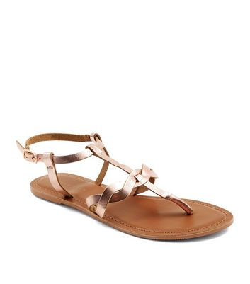 Rose Gold Leather Plait Strap Toe Post Sandals