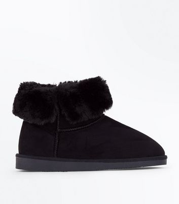 Black Faux Shearling Fold Down Boots