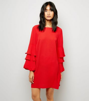 Red Tiered Sleeve Tunic Dress