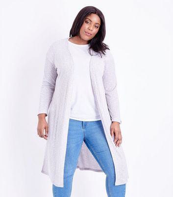 Curves Grey Ribbed Midi Cardigan
