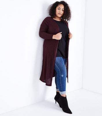 Curves Burgundy Ribbed Midi Cardigan