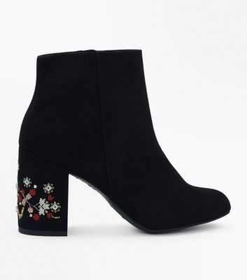 Black Suedette Cross Stitch Embroidered Heel Boots