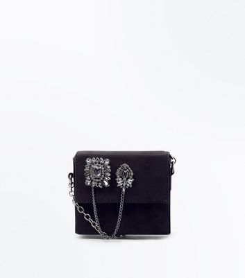 Black Embellished Micro Cross Body Bag