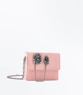 Shell Pink Embellished Micro Cross Body Bag