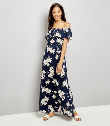 AX Paris Navy Floral Print Bardot Neck Maxi Dress