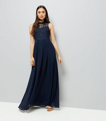 AX Paris Navy Crochet Panel Maxi Dress