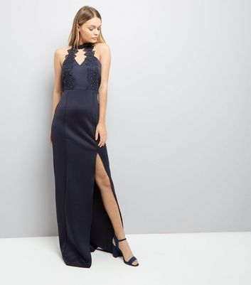 AX Paris Navy Crochet Neck Maxi Dress