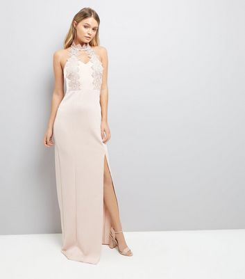 AX Paris Pink Crochet Detail Maxi Dress
