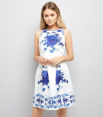 AX Paris White Embossed Floral Print Dress