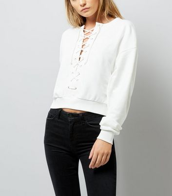 White Eyelet Lace Up Cropped Sweater