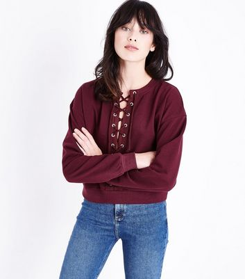 Burgundy Lace Up Front Cropped Sweatshirt