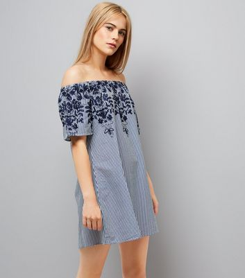 AX Paris Navy Stripe Floral Embroidered Bardot Neck Dress