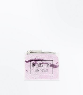 Pink Glitter Unicorn Dust Slogan Purse