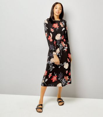 AX Paris Black Floral Print Midi Dress