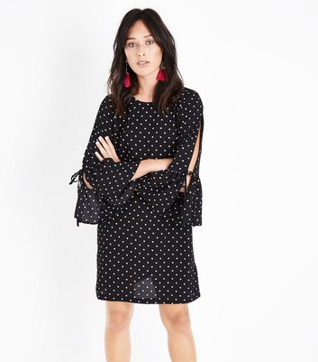 Black Polka Dot Tie Bell Sleeve Tunic Dress