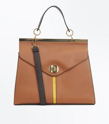Tan Yellow Stripe Structured Tote Bag