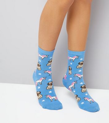 Blue Unicorn and Pug Pattern Socks