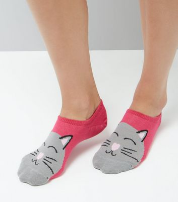 Pink Cat Pattern Trainer Socks