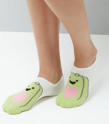 White Avocado Love Pattern Trainer Socks