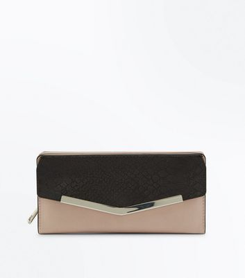Nude Faux Croc Panel Envelope Purse