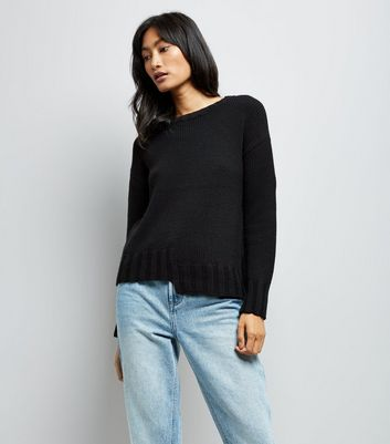 Black Asymmetric Hem Jumper