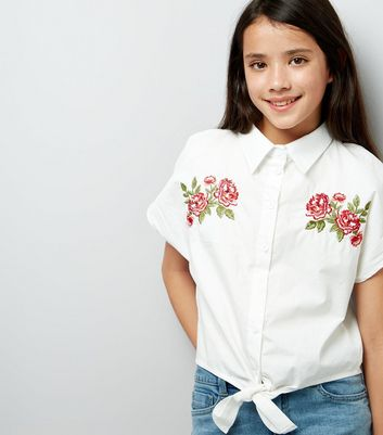 Teens Floral Embroidered Tie Front Crop Shirt