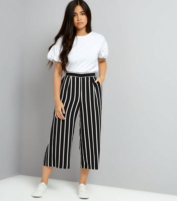 Teens Black Stripe Crop Wide Leg Trousers