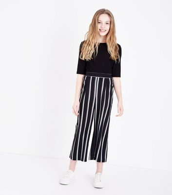 Teens Blue Stripe Cropped Hem Wide Leg Trousers