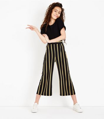 Teens Yellow Stripe Cropped Wide Leg Trousers