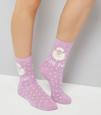 Pink I Love Ewe Sheep Print Socks